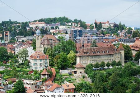 Summer View Of Fribourg.