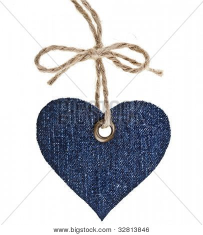 Jeans Tag Label Shape Heart Isolated on White