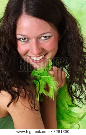 Woman With Green Feathers Boa