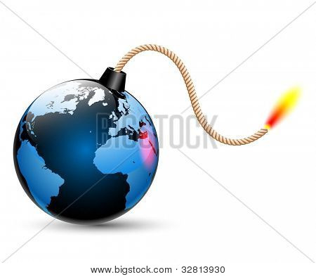 Illustration of a bomb with a burning cord isolated on a white background. Vector.
