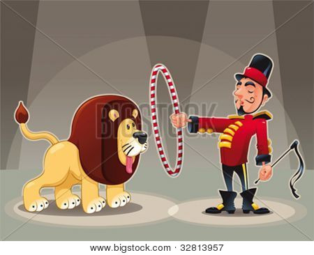 Lion Tamer with lion. Funny cartoon and vector circus illustration.