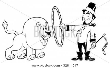 Lion Tamer with lion. Funny cartoon and vector black and white illustration.