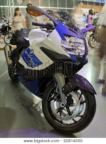 "KIEV, UKRAINE - APRIL 29: A new BMW k 1300 s motorbike is on display at the International Specialized Exhibition, ""Motobike 2012,"" on April 29, 2012 in Kiev, Ukraine."