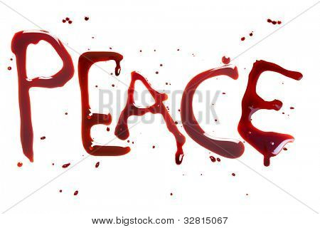 Bleeding letters showing the word for Peace