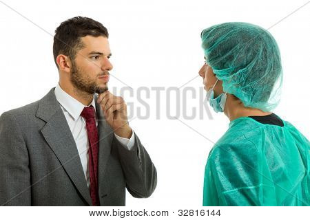 medical doctor telling the news to the patient