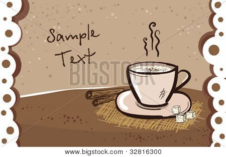 Cappuccino mug card design template with place for text.