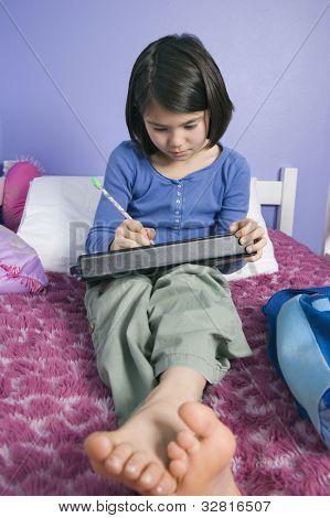 Asian girl doing homework