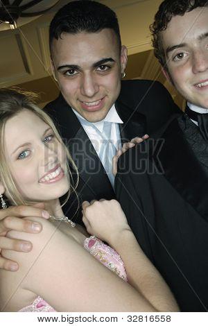Multi-ethnic friends at prom