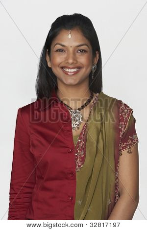 Indian woman wearing traditional dress and modern attire