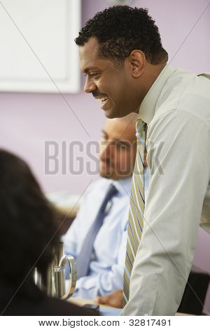 African businessman at meeting