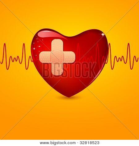 illustration of bandage on wounded heart with lifeline