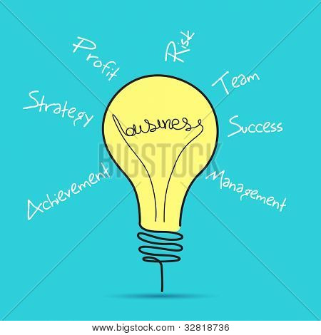 illustration of business bulb with business related word
