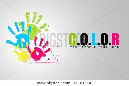 illustration of colorful hand showing colors of life