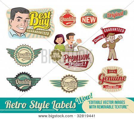 Etiquetas Retro Vintage - imágenes vectoriales editables