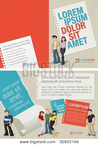 Red and blue template for advertising brochure with teenager students