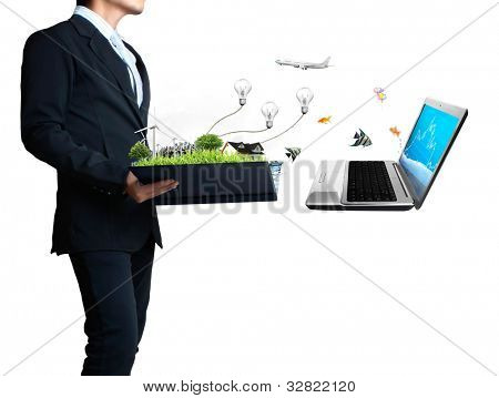 business man looking at laptop and connect to the file