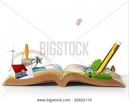 open book of fantasy stories   isolated on white background
