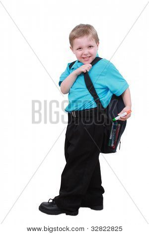 Little boy with a school backpack