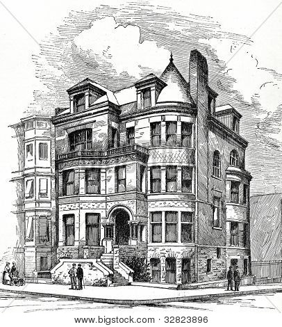 Residence Corner Eight Avenue and Berkeley Street, Brooklyn. F. Carles Merry, Architect. Illustration from �?�«Scientific American. Architects and Builders Edition�?�» magazine. USA, New York, august 1887.