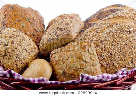 Multigrain Bread And Roll In A Basket