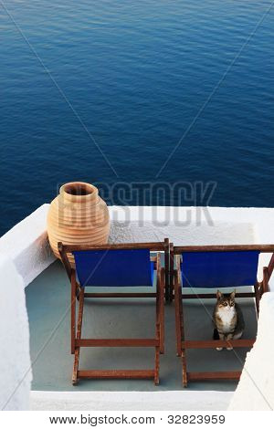 View on caldera and sea from balcony, with a cat under the sunced Santorini, Greece
