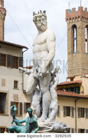 Neptune Fountain In Florence Italy