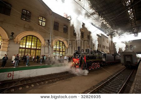 MOSCOW - MAY 09: The celebration of Victory Day in Moscow, vintage WWII train arrived at the Kazan railway station, May 9, 2012 in Moscow, Russia.