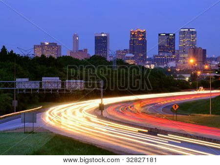 BIRMINGHAM, ALABAMA - APRIL 26: I-65 and downtown April 26, 2012 in Birmingham, AL. With a metro population of 1,128,047 people, it is Alabama's largest city with one quarter of the state population.