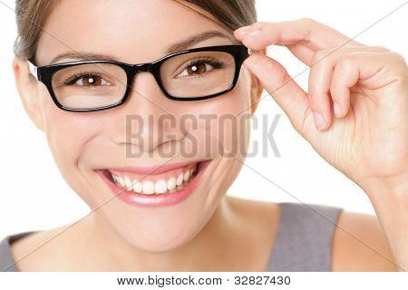 Brillen Brille frau freudig holding zeigen ihre neue Brille lächelnd auf weißem Hintergrund. schöne y