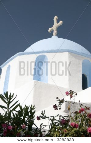 Classic Greek Island Church With Blue Dome