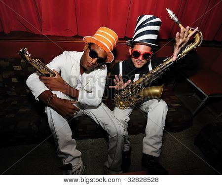 Funky Musicians With Saxophone