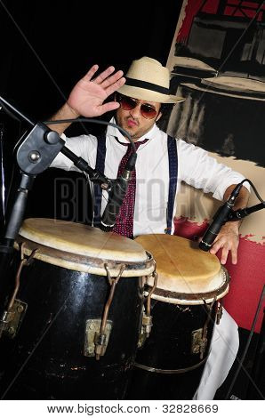 Cuban Percussionist Isolated On Black