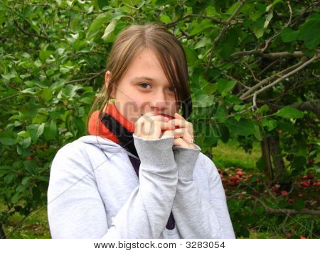 Girl Eating An Apple