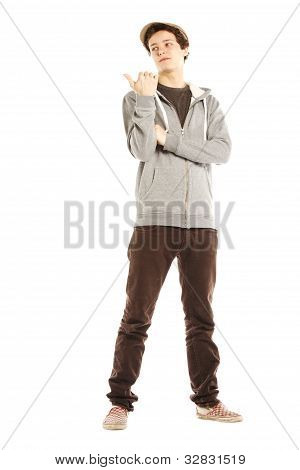 Young Handsome Serious Man With Hip Style Pointing Right