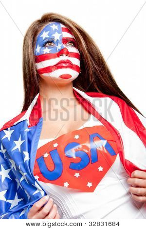 American superwoman with the USA flag painted on her face