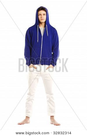 Young Man Dressed In Hoodie