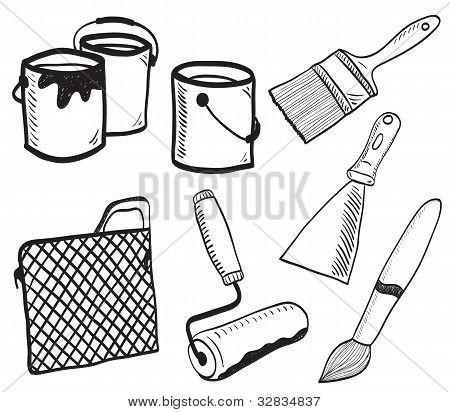 Ilustración de accesorios hechos a mano de pintura