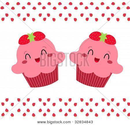 Pink strawberry caupcake