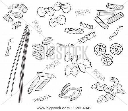 Types Of Pasta - Hand-drawn Illustration