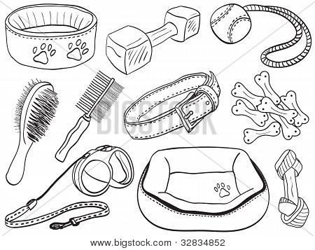 Dog Accessories - Pet Equipment Hand-drawn Illustration
