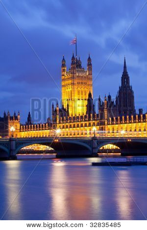 Victoria Tower House of Parliament London England UK at Dusk