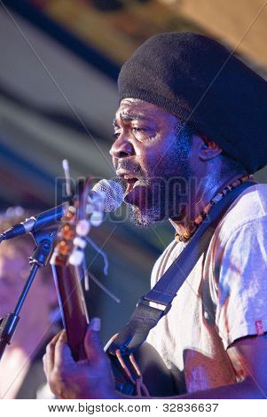 Paul Kauatchou Of The Reggae Band Peachy Farmer, Performing At The Exeter Respect Festival 2011.