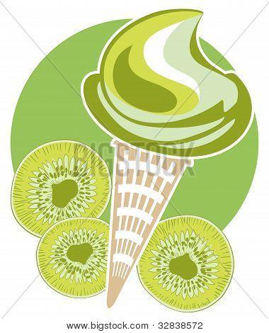Ice-cream Kiwi Cone