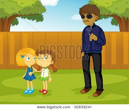 Illustration of a suspicious man approaching girls