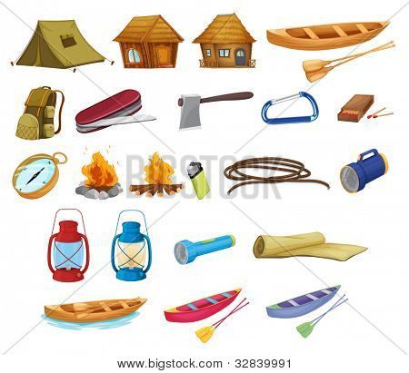 Set of detailed camping equipment on white - EPS VECTOR format also available in my portfolio.