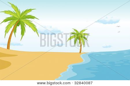 Illustration of a beach paradise - EPS VECTOR format also available in my portfolio.
