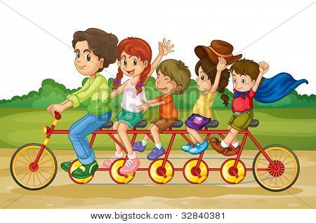 Family riding on same bike in park - EPS VECTOR format also available in my portfolio.