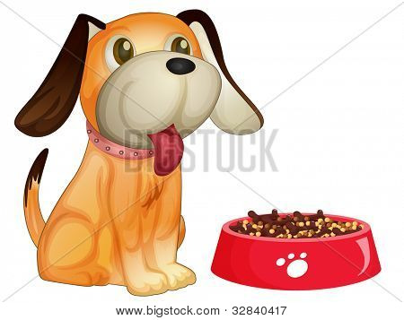 Illustration of a dog sitting next to his food - EPS VECTOR format also available in my portfolio.