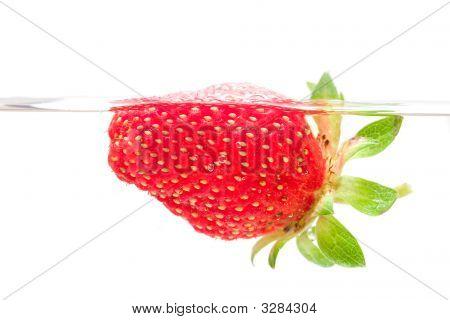 Strawberry Swim In Water