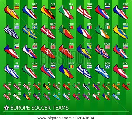 Soccer shoes in national flag colors for all European team